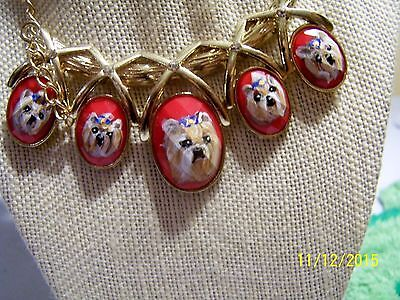 Yorkie hand painted gold tone pendant necklace