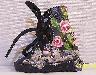 Yorkie hand painted mini faux leather boot key ring real shoestrings