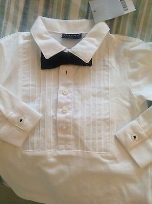 baby boys smart shirt bow tie bnwt 6-9months stretch white