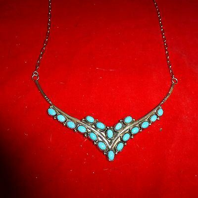 RARE 1890's NATIVE AMERICAN NAVAJO INDIAN STERLING SILVER & STONE -WIDE NECKLACE