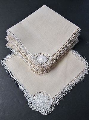 Antique 6 Linen Luncheon Napkins & Matching Cocktail Coasters Ornate Handwork