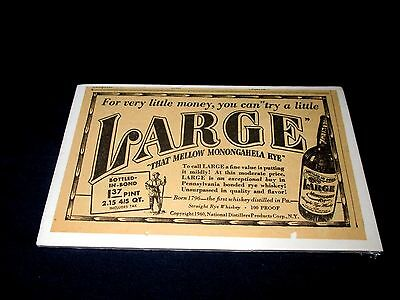 LARGE-THAT MELLOW MONONGAHELA RYE WHISKEY-ORIGINAL 1940s ERA PRINT AD