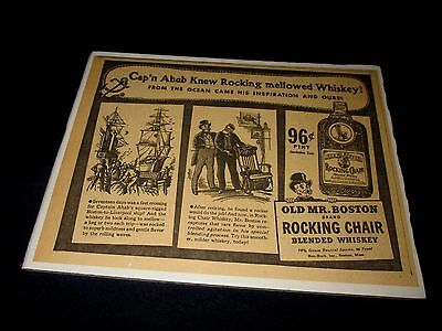 OLD MR. BOSTON-ROCKING CHAIR BLENDED WHISKEY-CAP'N AHAB-ORIGINAL 1940s PRINT AD