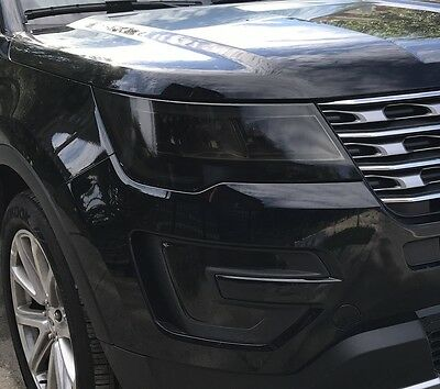 2016-2018 Ford Explorer Headlight & Foglight Precut Tint Cover Smoked Overlays