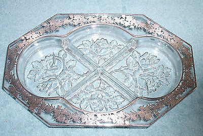 Vintage Collectible Crystal Divided Relish Dish/Tray-Sterling Silver Overlay