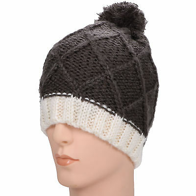 Simplicity knitted Chunky slouchy bonnet with pompoms beanie winter ski hat