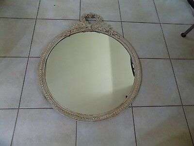 """Vintage Country White Round Wall Mirror  24 X 29"""" (T6-10)"""