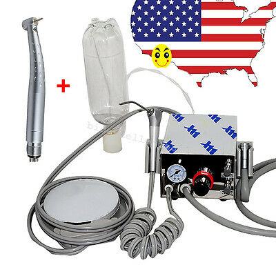 Dental Portable Air Turbine Unit For  Compressor 4Holes LED High Speed Handpiece
