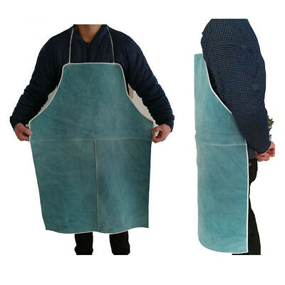 Welder Apron Heat Insulation Cowhide Leather Welding Protection Blue
