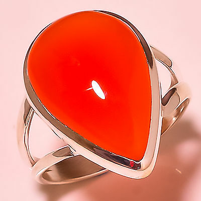 Red Carnelian 925 Solid Sterling Silver Ring Size 9 Us