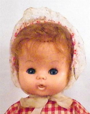 Vintage Kelly Doll Drink & Wet Vinyl Made in Hong Kong 11 inches Gingham Dress