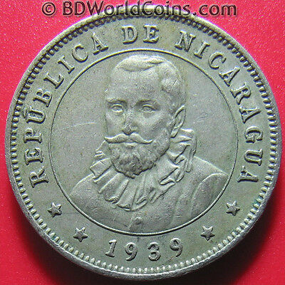 1939 NICARAGUA 25 CENTAVOS XF DETAILS WORLD COIN COPPER-NICKEL 23mm (no silver)