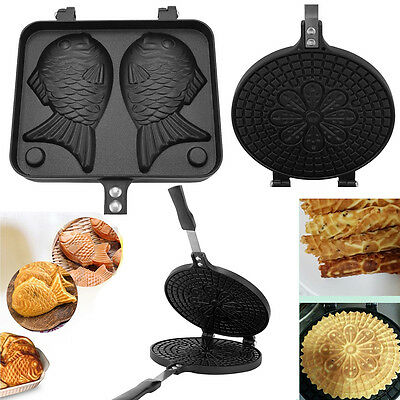 Egg Roll Mold Non-Stick Omelet Waffles Taiyaki Fish Cake Bread Baking Pan Alloy