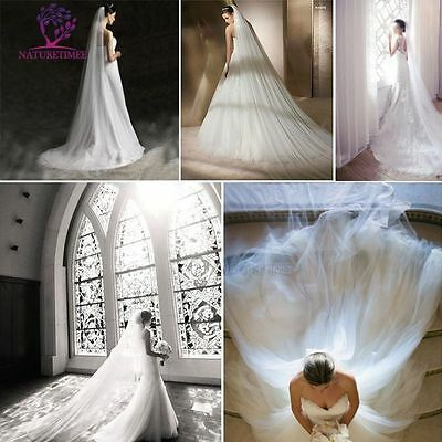 Bride Bridal Wedding Veil 3M White Cathedral Tulle Dress Double Layer With Comb