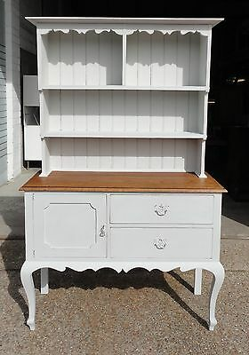 Lovely Antique Country Oak Grey Painted Dresser With Cupboard And Drawers