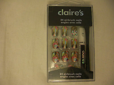 CLAIRE'S 24 AIRBRUSH NAILS  neu OVP old Stock
