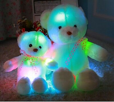 Battery Glow Teddy Bear Plush Doll Child Festive Birthday Christmas Gift