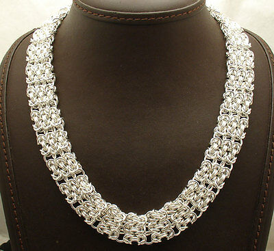 """18"""" Bold Three Row Textured Byzantine Necklace Chain Real Sterling Silver 925"""