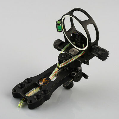 "5 pin Fiber Optic 0.019"" Compound Bow Sight w/ Light Micro Adjustable black New"