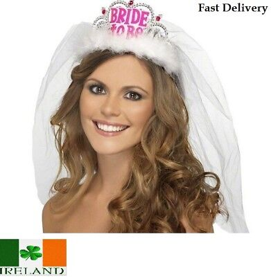 Hen Night Party Bride to Be Crown Tiara Veil Accessories Glass Shower Bridal