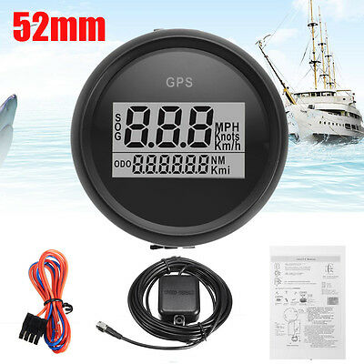 52mm Digital GPS Speedometer Gauge Black / White Bezel for Auto Car Truck Marine