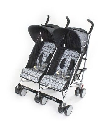 Love N Care Push N Go Baby Twin Stroller Double Pram Duo Black Rock