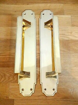 "1st PAIR LARGE 15"" BRASS ART DECO DOOR PULL HANDLES PLATES KNOBS PUSH"