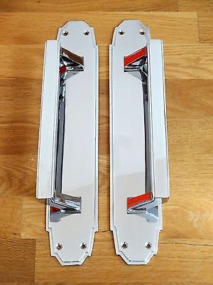 "1st PAIR LARGE 15"" CHROME ART DECO DOOR PULL HANDLES PLATES KNOBS PUSH"