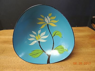 Vintage Lacquer Ware Floral Bowl by DaVar 1965 Blue w yellow & white flowers