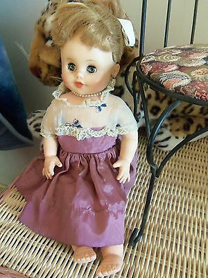 "Vintage Eegee 12"" Girl Doll in Dress and Jewelry, Ponytail  60's Stuffed Vinyl"