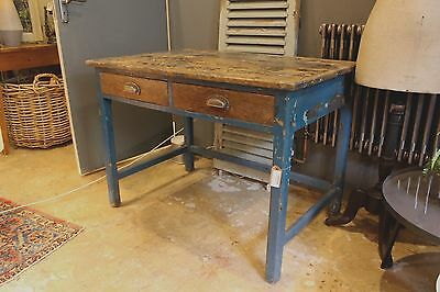 Vintage solid wood desk with draws and blue frame