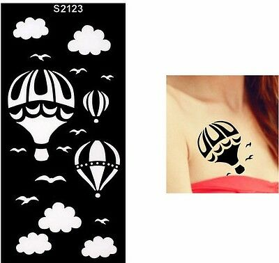 Henna Balloon Clouds Bird Arm Hands Stencils Templates Body Art Painting Black