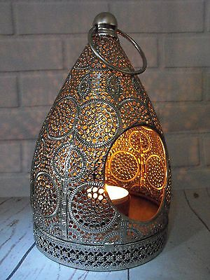 Moroccan Lantern Candle Holder Silver Metal Moroccan Style Tea Light Lantern
