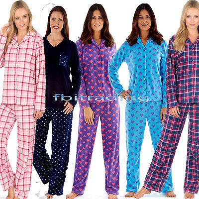 Ladies womens Fleece Warm Button Front pyjamas Bottom Pyjama set Pjs Long Sleeve