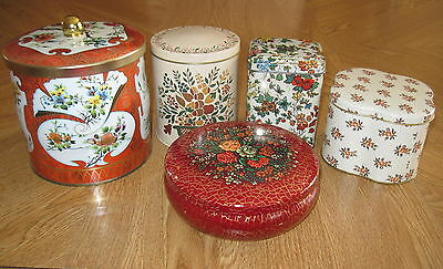 LOT of 5 - VINTAGE DAHER COLLECTIBLE TINS~MADE IN ENGLAND - FLORAL