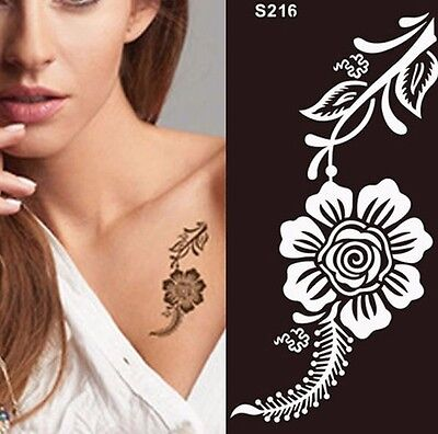 Rose Flower Henna Tattoo Stencil Temporary Pattern Body Painting for Arm Leg Art