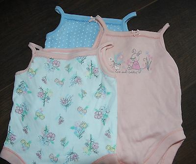 3 x Baby GIRL Vest / body suit ~ 0-3 months ~ Peach & Blue ~ GEORGE