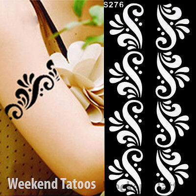 Black Henna Flower Bracelet Hands Art Stencils Airbrushing Body Makeup Painting