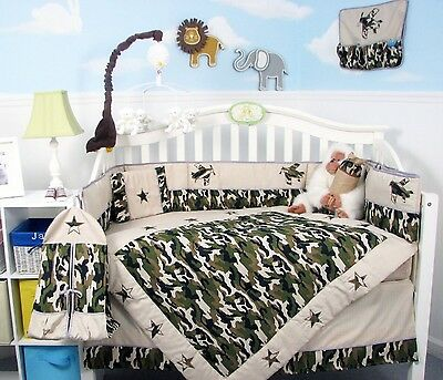 BOY CRIB BEDDING SET ARMY HUNTING CAMO Infant Baby Nursery 13 Pc Quilt Sheet NEW