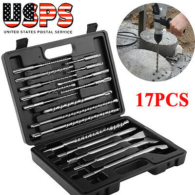 New 17pcs Rotary Hammer Drill SDS+ Plus Bits Chisel Set Concrete Fits for Hilti