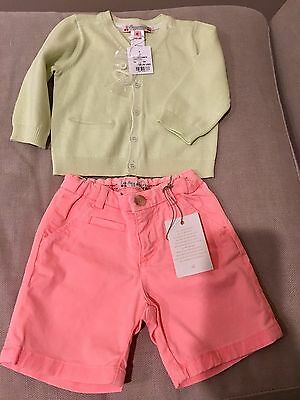 NEW Bonpoint Baby Girl Shorts + Cardigan Size 6 Months NEW!!!