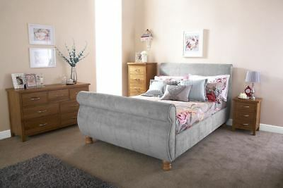 Chicago Fabric Sleigh Bedstead Chenille Fabric Modern French Style Bed 4Ft 5Ft