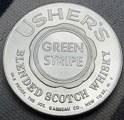 1953 token: Usher's Green Stripe Blended Scotch Whiskey 1950s NY advertising, BU