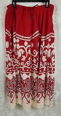 White Stag 100% Cotton Elastic Waist Skirt  Size Large (12/14) Red/Cream