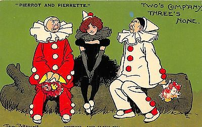POSTCARD  COMIC  TOM  BROWNE  PIERROT AND PIERRETTE  Two's Company There's None