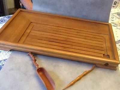 chinese bamboo tea tray with drain plus 2 wooden tea scoops