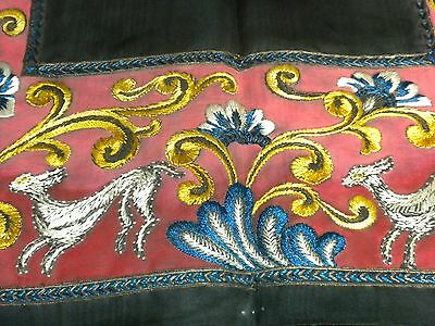 Antique Embroidered Table Runner Mat Rabbit and Flowers Blue Yellow Burnt Orange