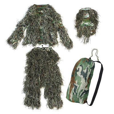 SY 5 pieces New Ghillie Suit Camo Woodland Camouflage Forest Hunting 3D