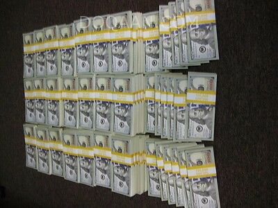 20,000.00 US Dollars 2x Bundles $10,000 New Style Blue Strip Used PROP MONEY