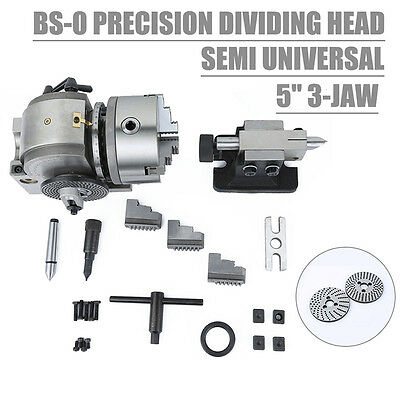 """BS-0 Presision 5"""" Semi Universal Dividing Head 3-Jaw Chuck Reliable Milling New"""